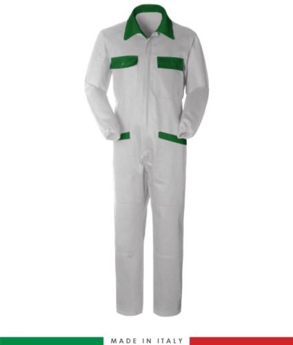 Tuta intera bicolore, collo a camicia, cerniera centrale coperta, elastico in vita. Possibilità di produzione personalizzata. Made in Italy. Colore Bianco/Verde Brillante