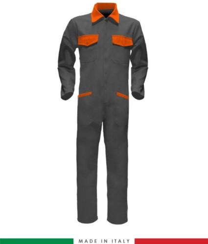 Tuta intera bicolore, collo a camicia, cerniera centrale coperta, elastico in vita. Possibilità di produzione personalizzata. Made in Italy. Colore Grigio/Arancione