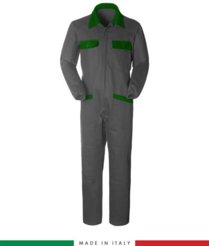 Tuta intera bicolore, collo a camicia, cerniera centrale coperta, elastico in vita. Possibilità di produzione personalizzata. Made in Italy. Colore Grigio/Verde Brillante