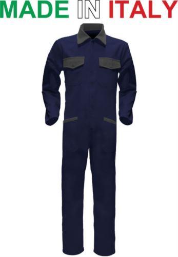 Tuta intera bicolore, collo a camicia, cerniera centrale coperta, elastico in vita. Possibilità di produzione personalizzata. Made in Italy. Colore Blu Navy/Grigio