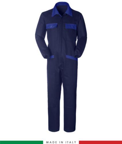 Tuta intera bicolore, collo a camicia, cerniera centrale coperta, elastico in vita. Possibilità di produzione personalizzata. Made in Italy. Colore Blu Navy/Azzurro Royal