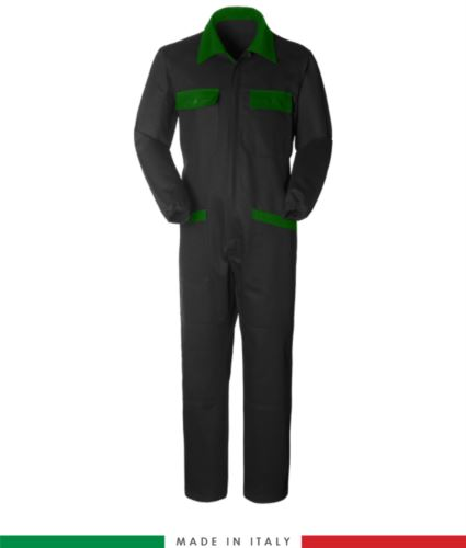 Tuta intera bicolore, collo a camicia, cerniera centrale coperta, elastico in vita. Possibilità di produzione personalizzata. Made in Italy. Colore Nero/Verde Bottiglia