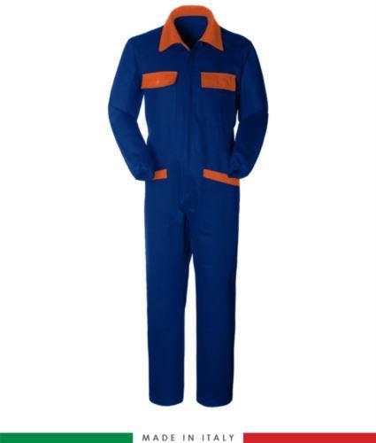 Tuta intera bicolore, collo a camicia, cerniera centrale coperta, elastico in vita. Possibilità di produzione personalizzata. Made in Italy. Colore Azzurro Royal/Arancione