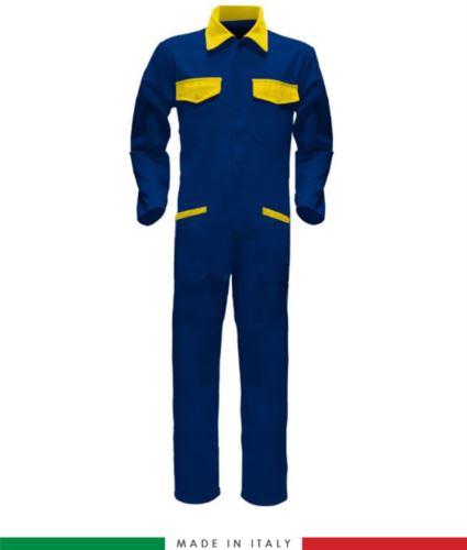 Tuta intera bicolore, collo a camicia, cerniera centrale coperta, elastico in vita. Possibilità di produzione personalizzata. Made in Italy. Colore Azzurro Royal/Giallo