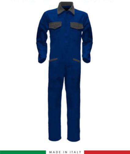 Tuta intera bicolore, collo a camicia, cerniera centrale coperta, elastico in vita. Possibilità di produzione personalizzata. Made in Italy. Colore Azzurro Royal/Grigio
