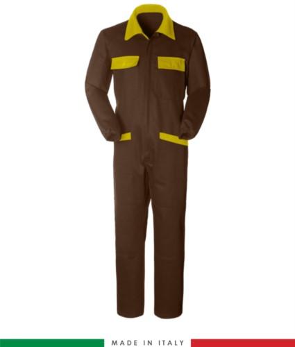 Tuta intera bicolore, collo a camicia, cerniera centrale coperta, elastico in vita. Possibilità di produzione personalizzata. Made in Italy. Colore Marrone/Giallo