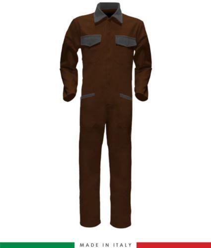 Tuta intera bicolore, collo a camicia, cerniera centrale coperta, elastico in vita. Possibilità di produzione personalizzata. Made in Italy. Colore Marrone/Grigio