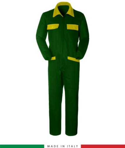 Tuta intera bicolore, collo a camicia, cerniera centrale coperta, elastico in vita. Possibilità di produzione personalizzata. Made in Italy. Colore Verde Bottiglia/Giallo
