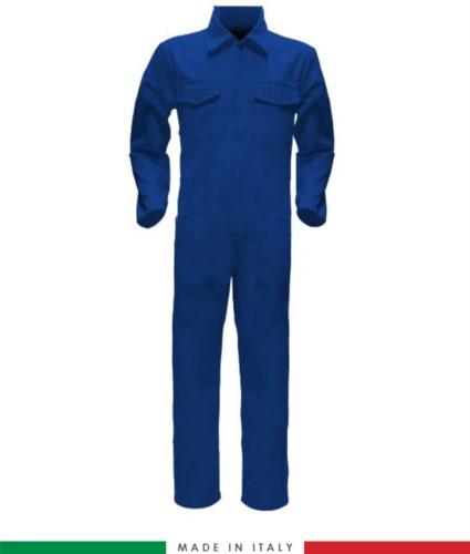 Tuta intera bicolore, collo a camicia, cerniera centrale coperta, elastico in vita. Possibilità di produzione personalizzata. Made in Italy. Colore Azzurro Royal