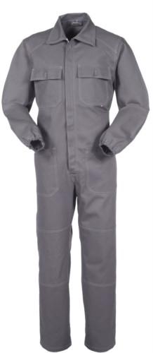 Tuta intera da lavoro con cerniera coperta e tasche, cuciture in contrasto, polsini con elastici, 100% Cotone. Colore grigio