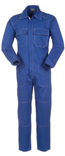 Tuta intera da lavoro con cerniera coperta e tasche, cuciture in contrasto, polsini con elastici, 100% Cotone. Colore blu royal