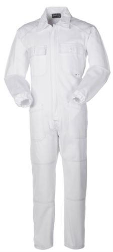 Tuta intera da lavoro con cerniera coperta e tasche, cuciture in contrasto, polsini con elastici, 100% Cotone. Colore bianco