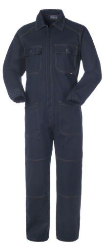 Tuta intera da lavoro con cerniera coperta e tasche, cuciture in contrasto, polsini con elastici, 100% Cotone. Colore blu navy
