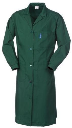 Vestaglia donna, chiusura centrale con bottoni, collo aperto, schiena intera, due tasche e un taschino applicati, colore verde
